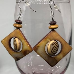 Square Dyed Mother Pearl & Wood Pierced Earrings